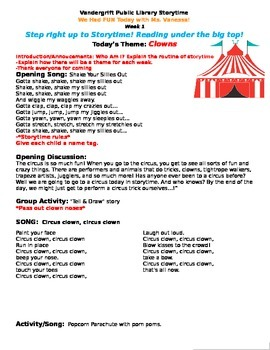 Come One, Come alll; Circus Preschool Storytime