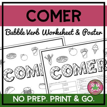 Comer Bubble Verb Worksheet/Poster