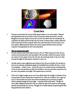 Comet Facts - Informational Text Test Prep