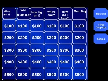 Comet and Asteroid Jeopardy