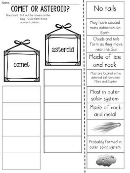 Comet or Asteroid? Cut and Paste Sorting Activity