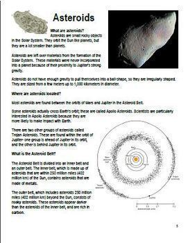Comets Asteroids Meteoroids Anticipation Guide, Informational Reading, Organizer