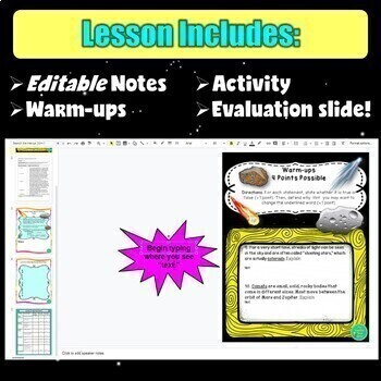 Comets, Asteroids, and Meteors Digital and Printable Lesson- Astronomy Unit