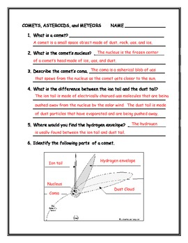 Comets, Asteroids, and Meteors Worksheet