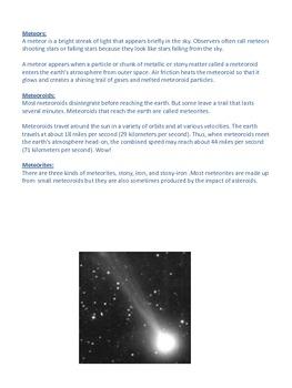Comets, Meteors, Meteoroids and Meteorites- Notes