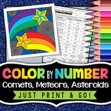 Asteroids, Meteors, Comets - Color by Number Activity