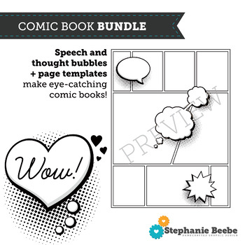 Comic Book BUNDLE // Comic Book Templates AND Speech and Thought Bubbles Clipart