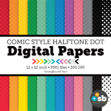 Comic Book Digital Paper Backgrounds Clipart // Halftone Dot Comic Book Style