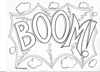 Comic Book Superhero Sound Effect Coloring Pages Set 2 By Noodlzart