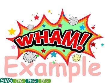 Comic Book Superheroes clipart Pop Art Text Props Speech Bubble Party hero  275s