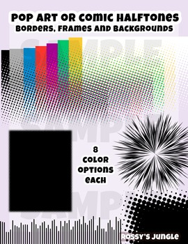 Comic Book or Pop art Screentones or Halftone borders and backgrounds