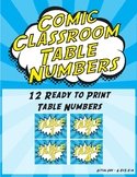 Comic Classroom Table Numbers Signs - Super Hero Blue and Yellow Theme