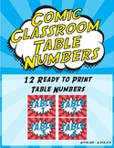 Comic Classroom Table Numbers Signs - Super Hero Red and Blue Theme