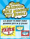 Comic Classroom Table Numbers Signs - Super Hero Theme Bundle