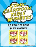 Comic Classroom Table Numbers Signs - Super Hero Yellow and Red Theme