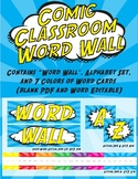 Comic Classroom Word Wall - Super Hero Blue and Yellow The