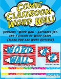 Comic Classroom Word Wall - Super Hero Red and Blue Theme