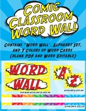 Comic Classroom Word Wall - Super Hero Yellow and Red Them