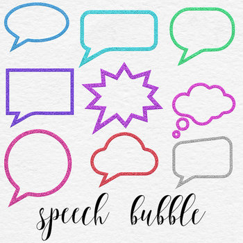 Comic Clipart Speech, Glitter Bubbles Clipart