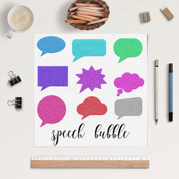 Comic Clipart Speech, Glitter Bubbles Clipart