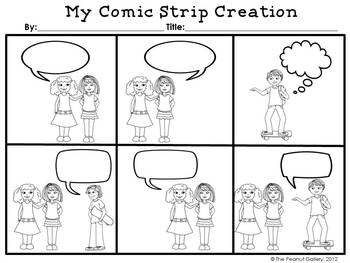 Comic creations comic strip template set by the peanut for Comic strip template maker
