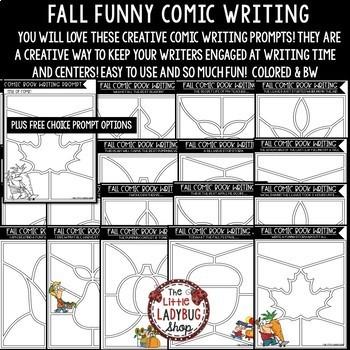 Comic Fall Writing Prompts - 4th Grade, 5th Grade & 3rd Grade