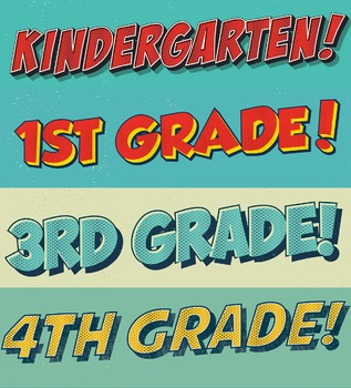 """Comic Lettering """"A"""" Section Titles Grades 1-8 plus Kindergarten and Faculty"""