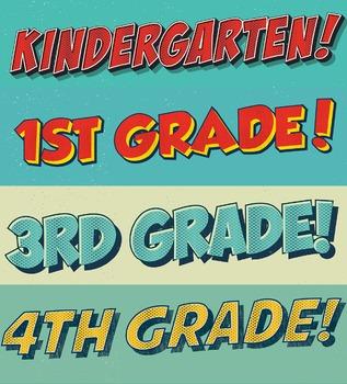 "Comic Lettering ""A"" Section Titles Grades 1-8 plus Kinderg"