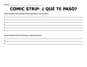 Comic Strip Activity Doctor Unit