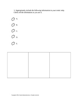 Comic Strip Activity Template and Rubric