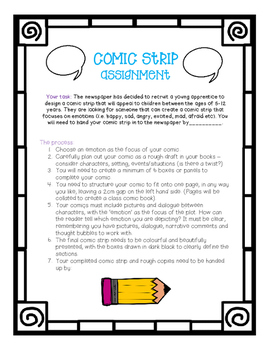 Literacy Comic Strip Assignment Project