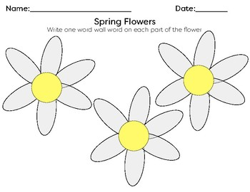 Spring Flowers Word Wall Activity