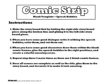 Comic Strip Story Board Template