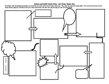 Comic strip template for romeo and juliet by william for Printable blank comic strip template for kids