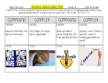 Comic Strip for Compound and Complex Sentences with Example