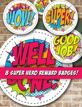 Comic Super Hero Reward Badges or Classroom Art - 8 Styles - PDF - 300 DPI PNGs