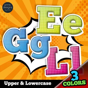 Comic Superhero Style Alphabet Clip Art Complete Set in 3 Colors
