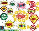 Comic Text Props Super hero clip art Pop Art Speech Bubble baby shower svg -191s