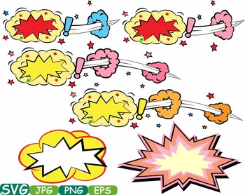Comic Text Props Super hero clip art Pop Art Speech Bubble baby shower svg -278s