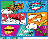 Comic Text Props Super hero clip art Pop Art Speech Bubble baby shower svg -279s