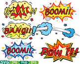 Comic Text Props Super hero clip art Pop Art Speech Bubble baby shower svg -301s
