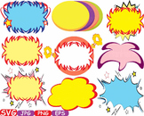 Comic Text Props Super hero clip art Pop Art Speech Bubble baby shower svg -387s