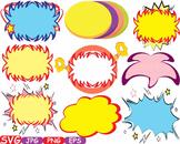 Comic Text Props Super hero clip art Pop Art Speech Bubble baby shower svg -387s