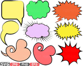 Comic Text Props Super hero clip art Pop Art Speech Bubble baby shower svg -435s