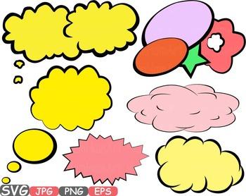 Comic Text Props Super hero clip art Pop Art Speech Bubble baby shower svg -436s