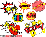 Comic Text Props Super hero clip art Pop Art Speech Bubble baby shower svg -437s