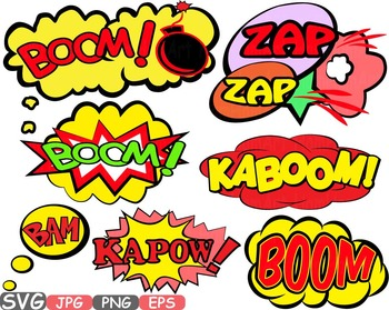 Comic Text Props Super hero clip art Pop Art Speech Bubble baby shower svg -438S