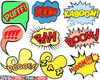 Comic Text Props Super hero clip art Pop Art Speech Bubble baby shower svg -438s