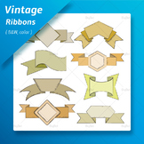 Comic Vintage Ribbons and Label Clip Arts