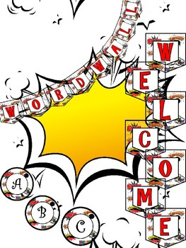 Comic Word Wall and Welcome Banner Set